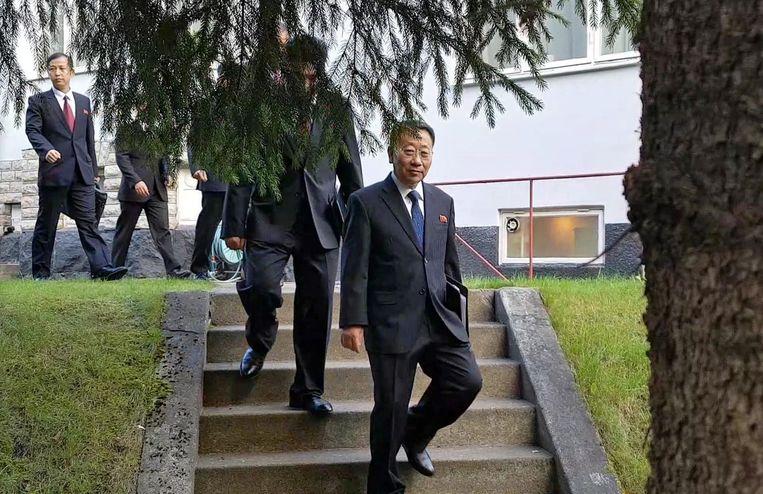 De Noord-Koreaanse delegatie.