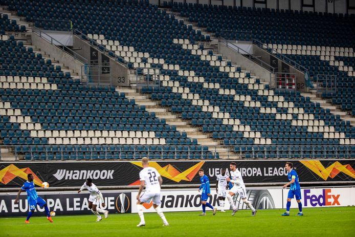 De tribune van de Ghelamco Arena was ook tijdens de match tegen TSG 1899 Hoffenheim eind oktober noodgedwongen leeg.