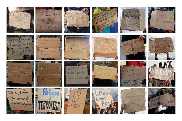 Vluchtelingencrisis. Welkomstborden, smeekbedes en protesten tegen vluchtelingen in Griekenland, de VS, Groot-Brittannië, Duitsland en Frankrijk. Beeld AFP, AP, Demotix, EPA, Getty, Reuters