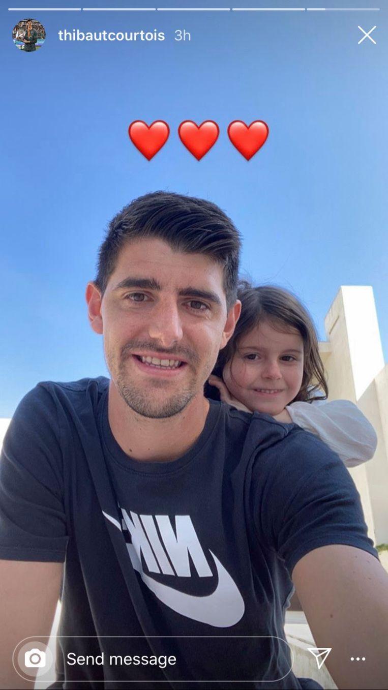 Thibaut Courtois en zijn dochtertje Adriana.