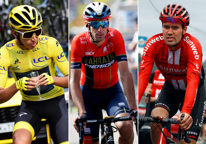 Egan Bernal, Vincenzo Nibali en Tom Dumoulin.