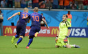 Sneijder in sportieve toptijden, toen Oranje met 5-1 won van Spanje op het WK 2014.