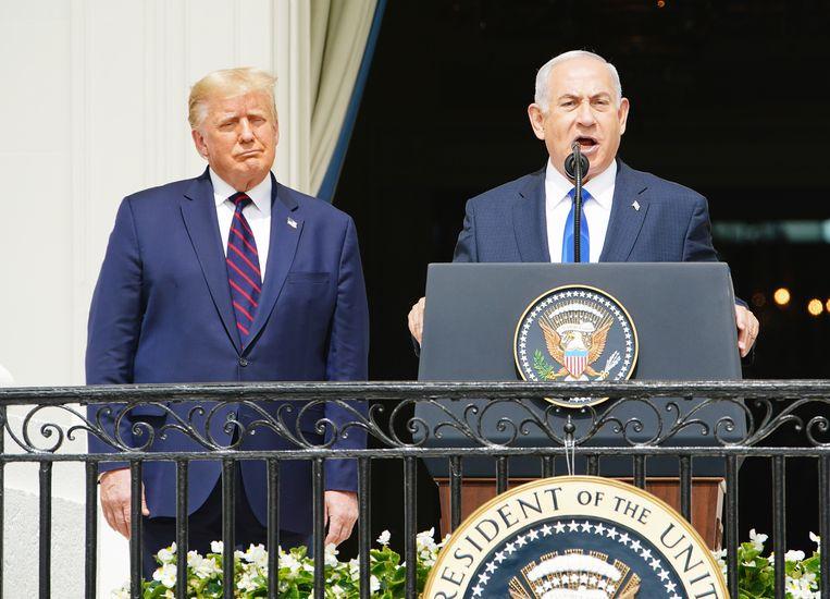Netanyahu (vooraan) en Donald Trump