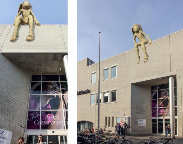Zo komt het nieuwe beeld op het dak van het conservatorium ArtEZ in Enschede eruit te zien