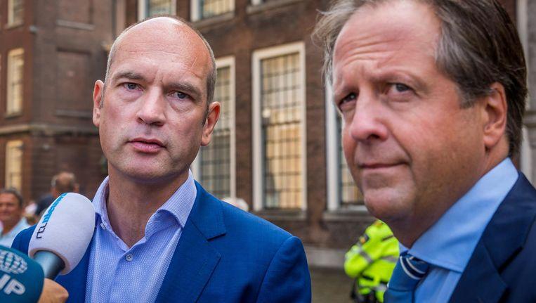 D66-fractievoorzitter Alexander Pechtold en CU-leider Gert-Jan Segers. Beeld anp