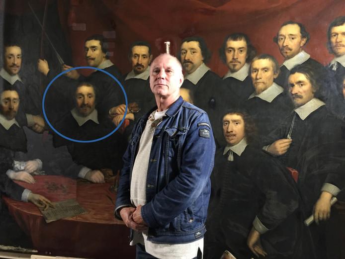 Marinus Wesdorp moest wel even zoeken naar zijn voorouder op de voorstelling van de Confrérie van Sint Sebastiaan: de mannen lijken nog al op elkaar. Het gaat waarschijnlijk om de man in de cirkel.