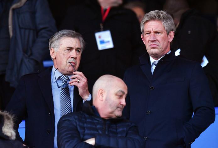 Marcel Brands (rechts) met de nieuwe coach Carlo Ancelotti.