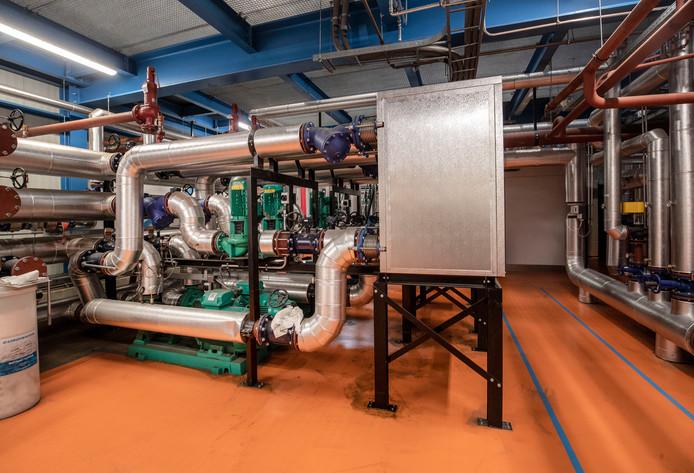 De warmte-wisselaar van bio-energie centrale 'Bio-Energie Ede'.