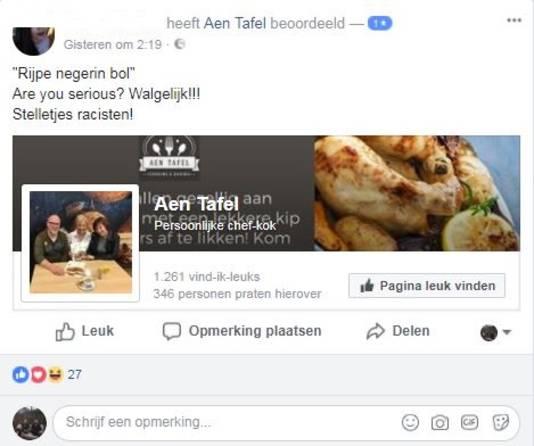 Één van de boze reacties op de Facebookpagina van het restaurant