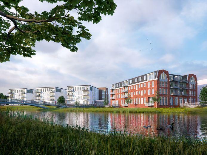 Een artist impression van De Brenthof (rechts). Links de gebouwen van Dommelstaete.