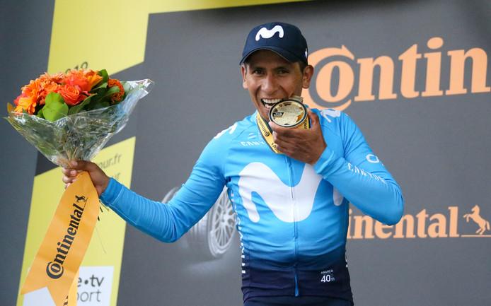 Nairo Quintana na zijn winst van de achttiende etappe in de Tour de France.