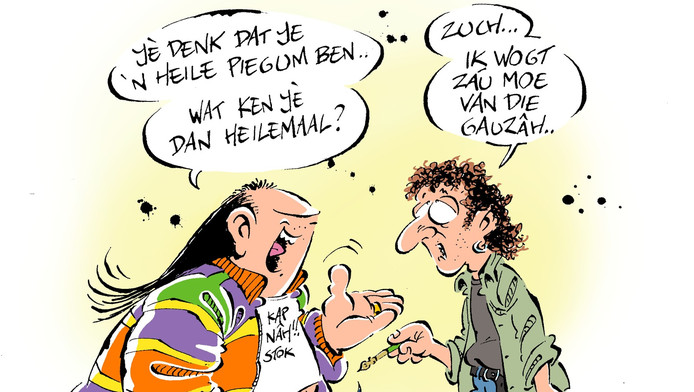 De stripheld Haagse Harry en tekenaar Marnix Rueb.
