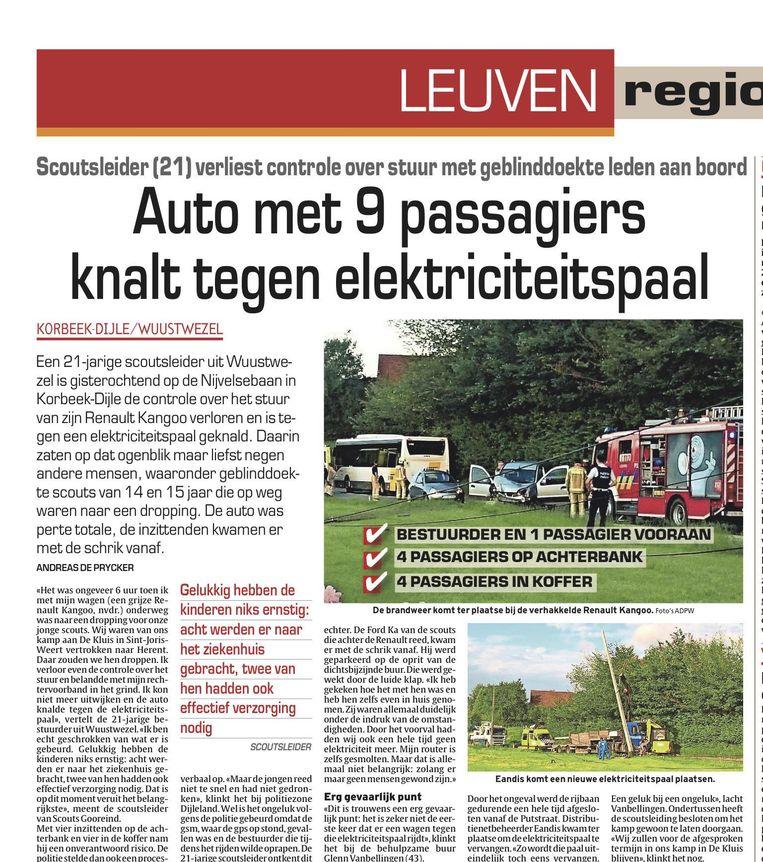 Het artikel dat na de crash in deze krant verscheen.