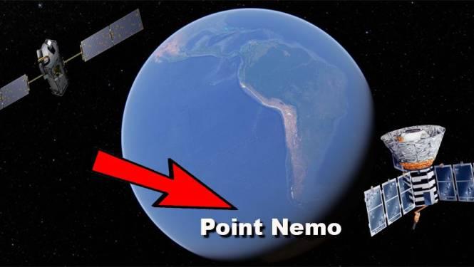 Om geen mensen te raken laat NASA kapotte ruimteschepen neerstorten in Point Nemo in het midden van de oceaan