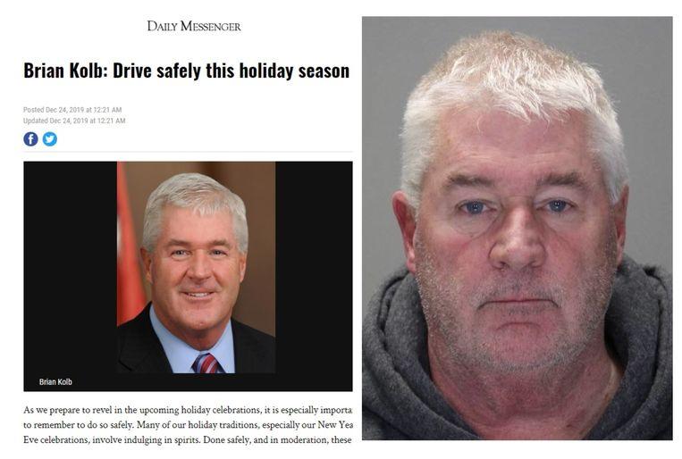 Brian Kolb poseert na zijn arrestatie voor zijn 'mug shot'. Links: de bewuste column waarin de politicus oproept om vooral niet dronken achter het stuur te kruipen.