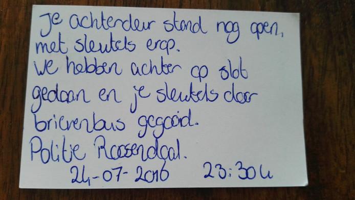 Het briefje van de politie Roosendaal (foto: Dumpert)