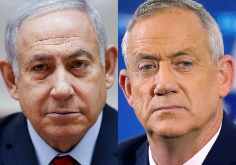 Benjamin Netanyahu en zijn politieke tegenstrever Benny Gantz