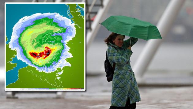 Kaart van de extreme neerslag