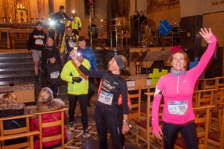Doortocht in de Kapel van Sint Jozef op de City Night Run Wetteren.