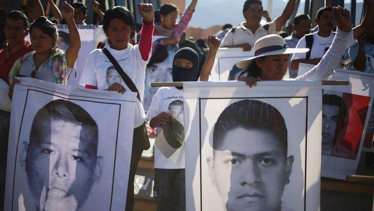Mexicaanse protesten tegen de verdwijning van 43 studenten.