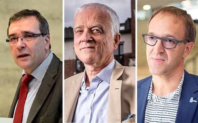 Rectoren Luc De Schepper (UHasselt), Herman Van Goethem (UAntwerpen) en Rik Van De Walle (UGent)
