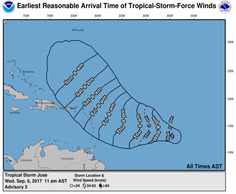 Het verwachte pad van de tweede orkaan Jose. De tijden op de afbeelding zijn AST, in Nederland is het zes uur later. Beeld National Hurricane Center