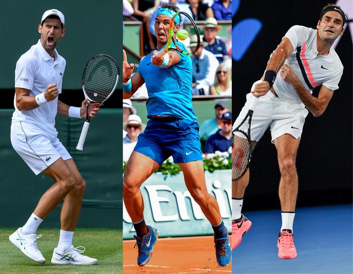 Novak Djokovic, Rafael Nadal en Roger Federer.