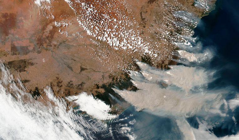 Op satellietbeelden daterend van 4 januari 2020 waren de gigantische rookwolken heel duidelijk te zien.