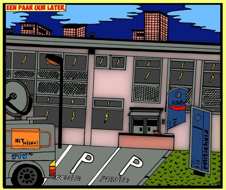 Het huidige politiekantoor van Lede krijgt een prominente rol in het Clara Kramer stripverhaal van Wim Vlieg