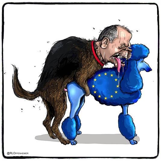 Op de tweede tekening is te zien hoe de hond Erdogan een poedel van de Europese Unie van achteren neemt.
