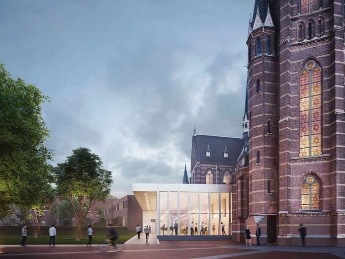 De entree van Mariënhage aan de kant van de Tramstraat in Eindhoven. Duidelijk zichtbaar is de 'Knoop', het lichte pand dat de vijf monumentale delen verbindt.