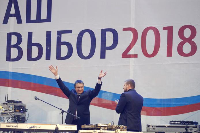 Leonid Pasechnik, leider van de 'volksrepubliek Loehansk', tijdens een  verkiezingstoespraak afgelopen donderdag.