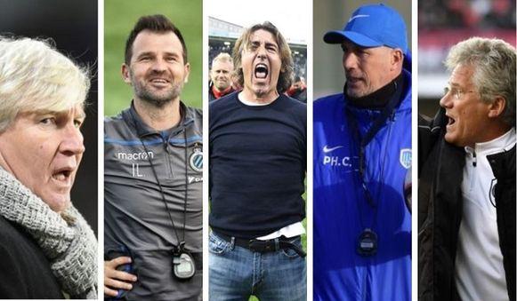Van l  naar r: Brys, Leko, Sa Pinto, Clement en Bölöni.