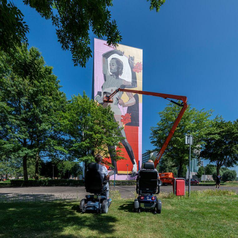 XXL-Mural op de Heerlerbaan, door kunstenaar ARYZ. Beeld null
