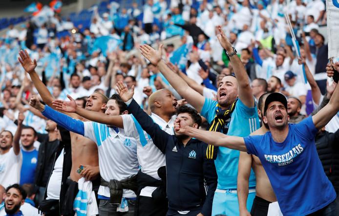 Fans van Olympique Marseille bij de Europa League-finale tegen Atlético Madrid in mei in Lyon.