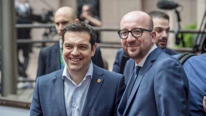 Charles Michel met Grieks premier Alexis Tsipras.