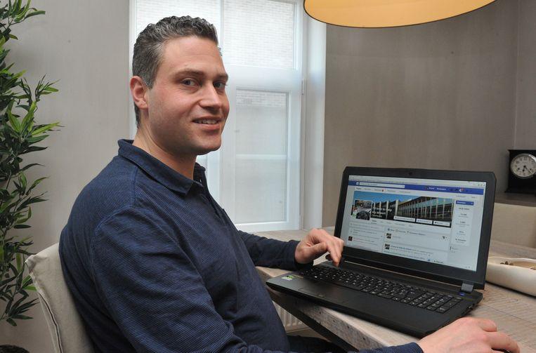 Kristof Voet toont zijn Facebookpagina 'I'd like to help my airport'.
