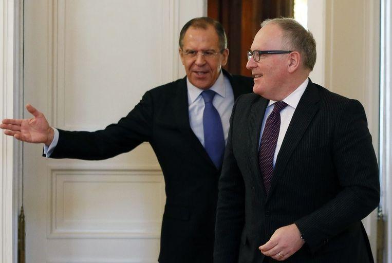 Timmermans op bezoek bij Lavrov eerder dit jaar. Beeld epa