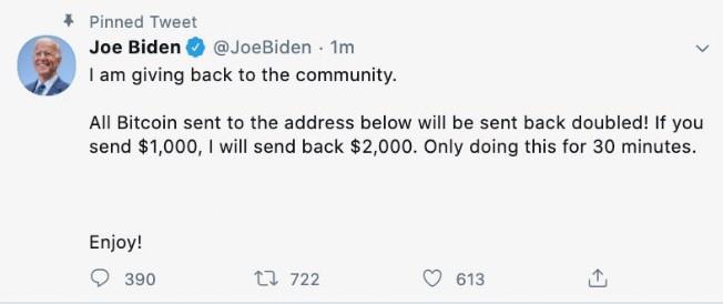 Ook Joe Biden werd slachtoffer van de hack.