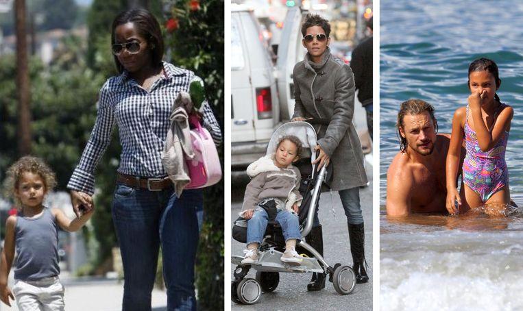 Van links naar rechts: nanny Alliance Kamdem, Halle Berry met haar dochter, en haar ex Gabriel Aubry.