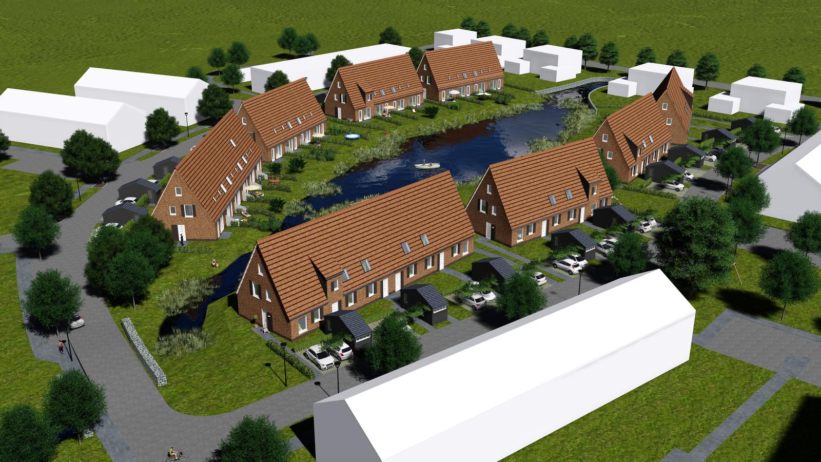 Een impressie van de woningbouw in De Kolk in Wapenveld. De huidige plannen wijken licht af van de bovenstaande afbeelding.