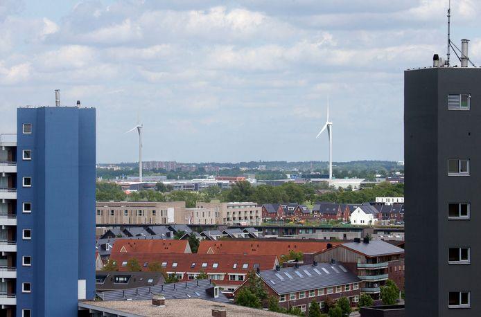 De Edese windmolens zijn goed te zien vanuit Veenendaal.