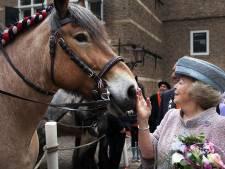 Beveiligers van Beatrix lopen vast op Wassenaars strand terwijl prinses op paard zit