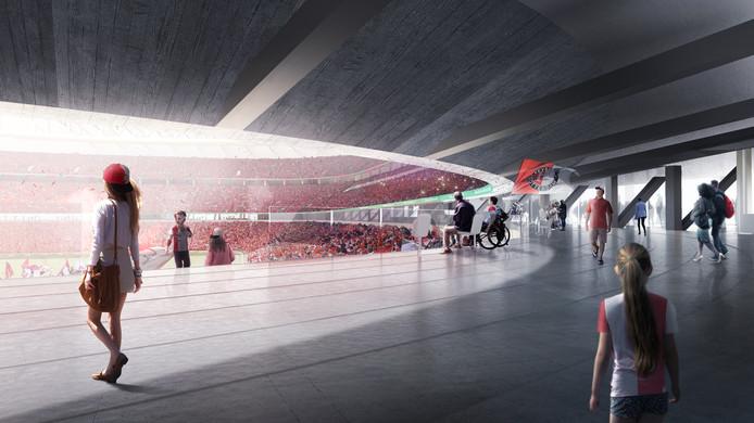 Het Feyenoordstadion-nieuwe-stijl: robuust, met veel beton en staal.