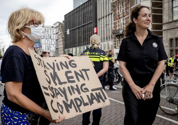 Burgemeester Femke Halsema vanmiddag tijdens het protest op de Dam.