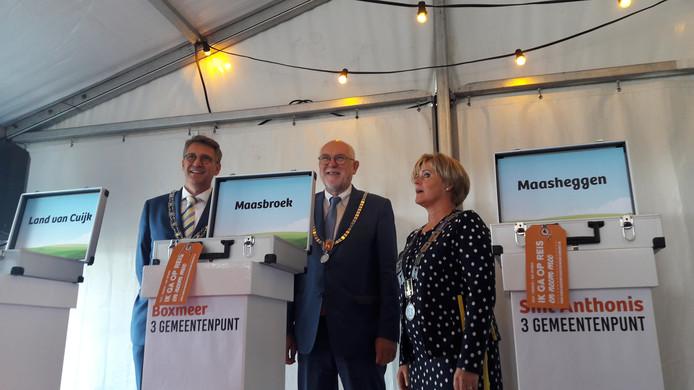 De drie burgemeesters onthullen de potentiële nieuwe namen voor de fusiegemeente.