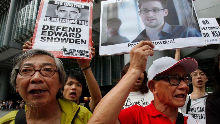 Demonstranten voor het consulaat in Hongkong. Beeld reuters