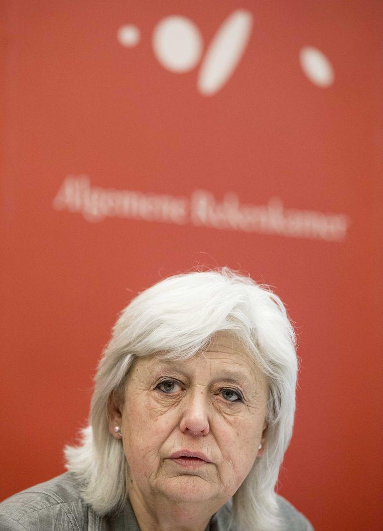 President van de Algemene Rekenkamer Saskia Stuiveling tijdens de presentatie van de rapporten van het verantwoordingsonderzoek vorig jaar. Beeld anp