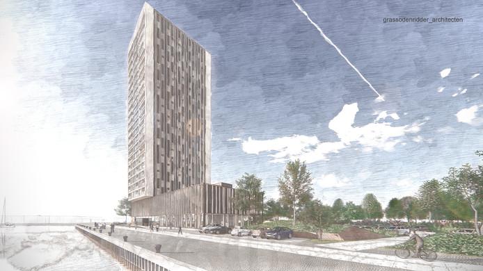 Het nieuwe plan voor de Beurtvaartkade in Terneuzen, nieuwbouw hotel l'Escaut met woontoren.