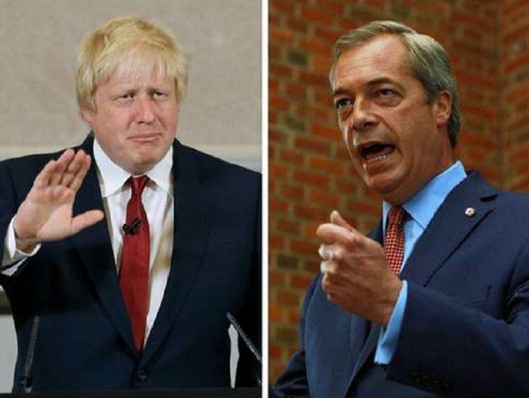 Boris Johnson (links) sluit als hij premier wordt samenwerking met Nigel Farage (rechts) uit.